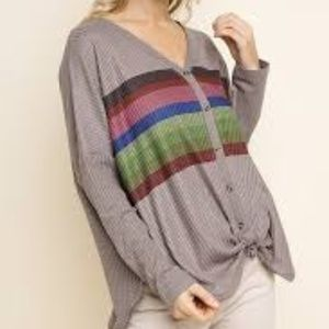 Umgee Striped Mocha Waffle Knit with Button Detail